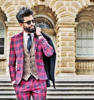 How to wear: black pea coat, red plaid blazer, tan wool waistcoat, white dress shirt