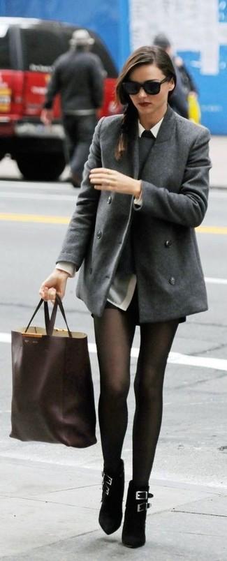 Miranda Kerr wearing Grey Pea Coat, Grey Crew-neck Sweater, Grey Dress Shirt, Black Leather Shorts