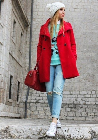 How to wear: red pea coat, mint embroidered crew-neck sweater, white dress shirt, light blue ripped skinny jeans