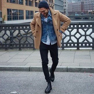 How to wear: tan pea coat, blue denim jacket, light blue long sleeve shirt, white tank