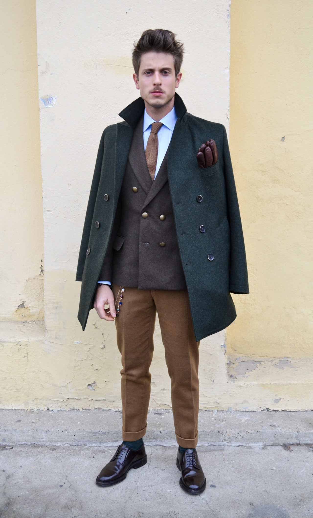 Olive Pea Coat | Men's Fashion