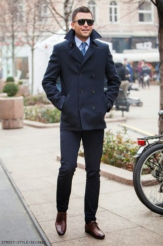 How to wear: navy pea coat, light blue dress shirt, navy dress pants, dark brown leather derby shoes