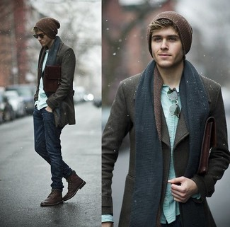 How to wear: dark brown pea coat, mint long sleeve shirt, navy jeans, burgundy leather casual boots