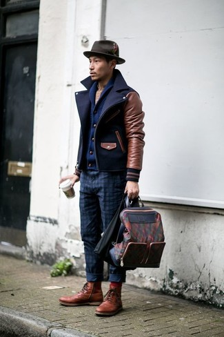 How to wear: navy pea coat, navy shawl cardigan, beige plaid long sleeve shirt, navy check chinos