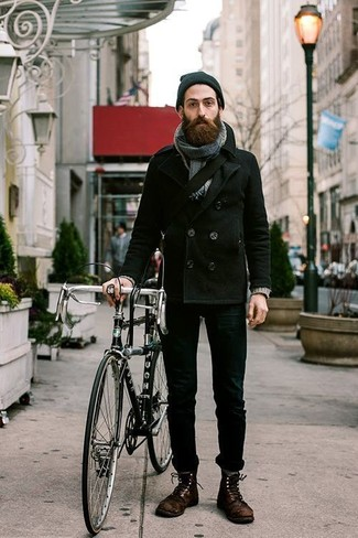 How to wear: black pea coat, black skinny jeans, dark brown leather casual boots, black canvas messenger bag