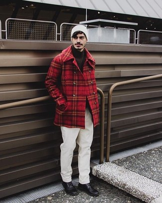 How to wear: red plaid pea coat, dark brown turtleneck, white chinos, black leather derby shoes