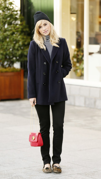 How to wear: navy pea coat, white and black horizontal striped turtleneck, black skinny jeans, tan leopard suede ballerina shoes