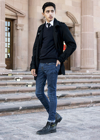 How to wear: black pea coat, black v-neck sweater, white dress shirt, navy skinny jeans