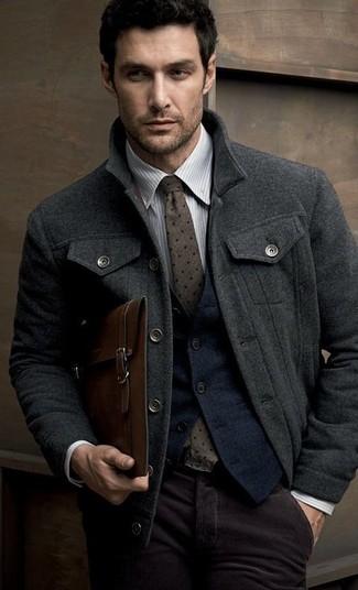 How to wear: charcoal pea coat, navy wool waistcoat, grey vertical striped dress shirt, dark purple corduroy dress pants