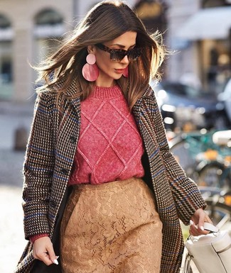 How to wear: white leather satchel bag, tan lace pencil skirt, hot pink cable sweater, dark brown houndstooth coat