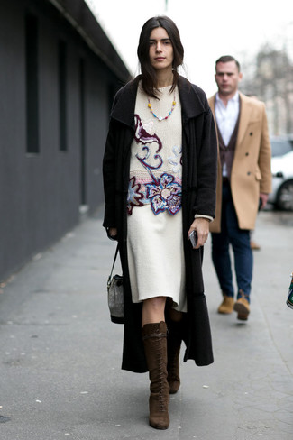 Women's Looks & Outfits: What To Wear In 2020: Opt for a black coat and a white wool pencil skirt for a sleek polished look. Complete your look with dark brown suede knee high boots and you're all set looking fabulous.