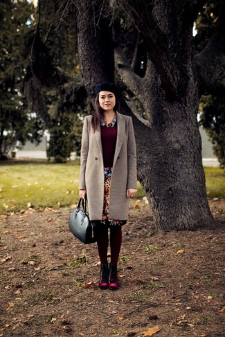 How to wear: burgundy suede lace-up flat boots, black floral pencil skirt, burgundy crew-neck sweater, beige coat