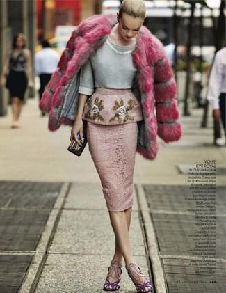 How to wear: violet suede heeled sandals, pink lace pencil skirt, grey embellished crew-neck sweater, hot pink fur coat