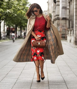 How to wear: black leather pumps, red floral pencil skirt, red horizontal striped crew-neck sweater, tan trenchcoat