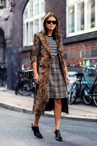 How to wear: black leather mules, grey plaid pencil skirt, white and black horizontal striped crew-neck t-shirt, brown leopard coat