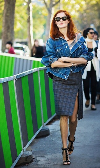 How to wear: black leather heeled sandals, navy plaid pencil skirt, grey crew-neck t-shirt, blue denim jacket