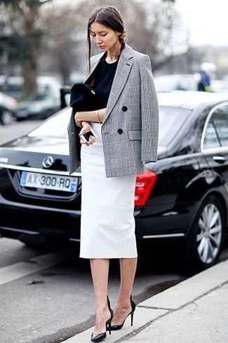 How to wear: black leather pumps, white pencil skirt, black crew-neck t-shirt, grey plaid double breasted blazer