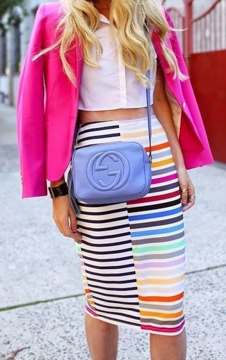 How to wear: light violet leather crossbody bag, multi colored horizontal striped pencil skirt, white cropped top, hot pink blazer