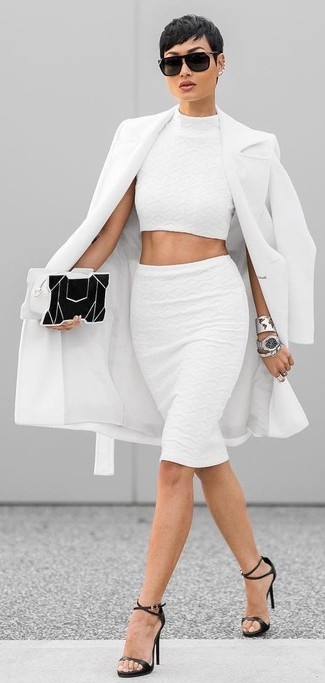 How to wear: black leather heeled sandals, white pencil skirt, white cropped top, white coat