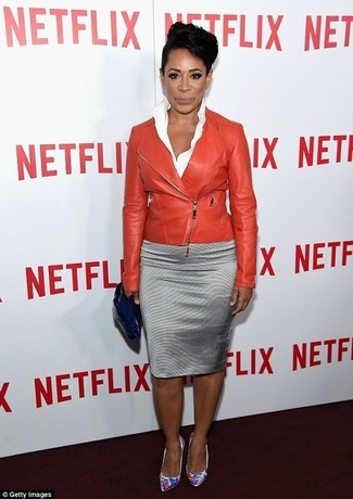 How to wear: white print leather pumps, silver pencil skirt, white dress shirt, red leather biker jacket