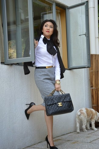How to wear: black leather pumps, grey pencil skirt, white dress shirt, black blazer