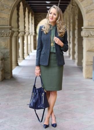How to wear: navy leather pumps, dark green pencil skirt, dark green dress shirt, navy check wool blazer