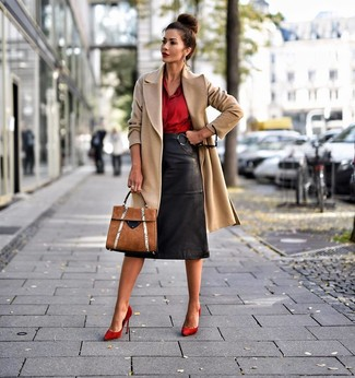 How to wear: red suede pumps, black leather pencil skirt, red silk dress shirt, camel coat