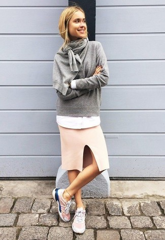 How to wear: pink athletic shoes, pink pencil skirt, white dress shirt, grey crew-neck sweater