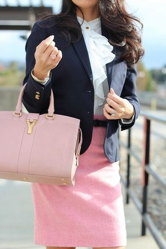 How to wear: pink leather tote bag, pink pencil skirt, white ruffle long sleeve blouse, black blazer