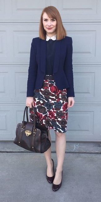55b238930077b How to wear: dark brown leather pumps, white floral pencil skirt, navy and