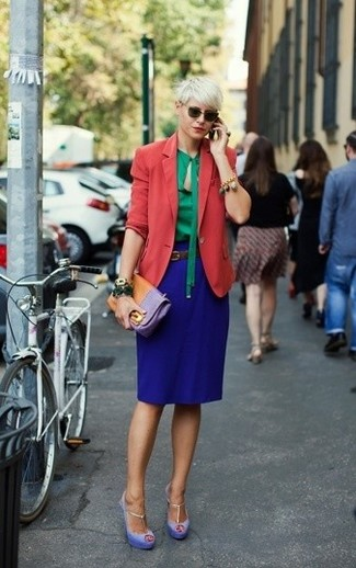 How to wear: light violet suede heeled sandals, blue pencil skirt, green long sleeve blouse, red blazer