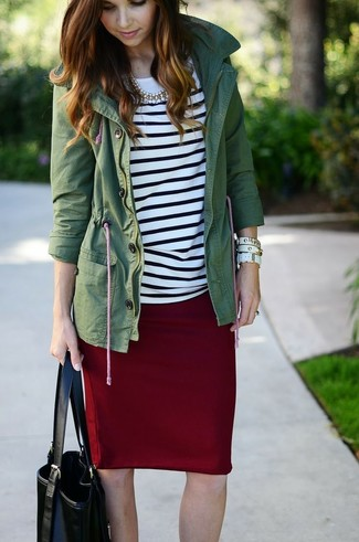 How to wear: black leather tote bag, burgundy pencil skirt, white and black horizontal striped long sleeve t-shirt, dark green anorak