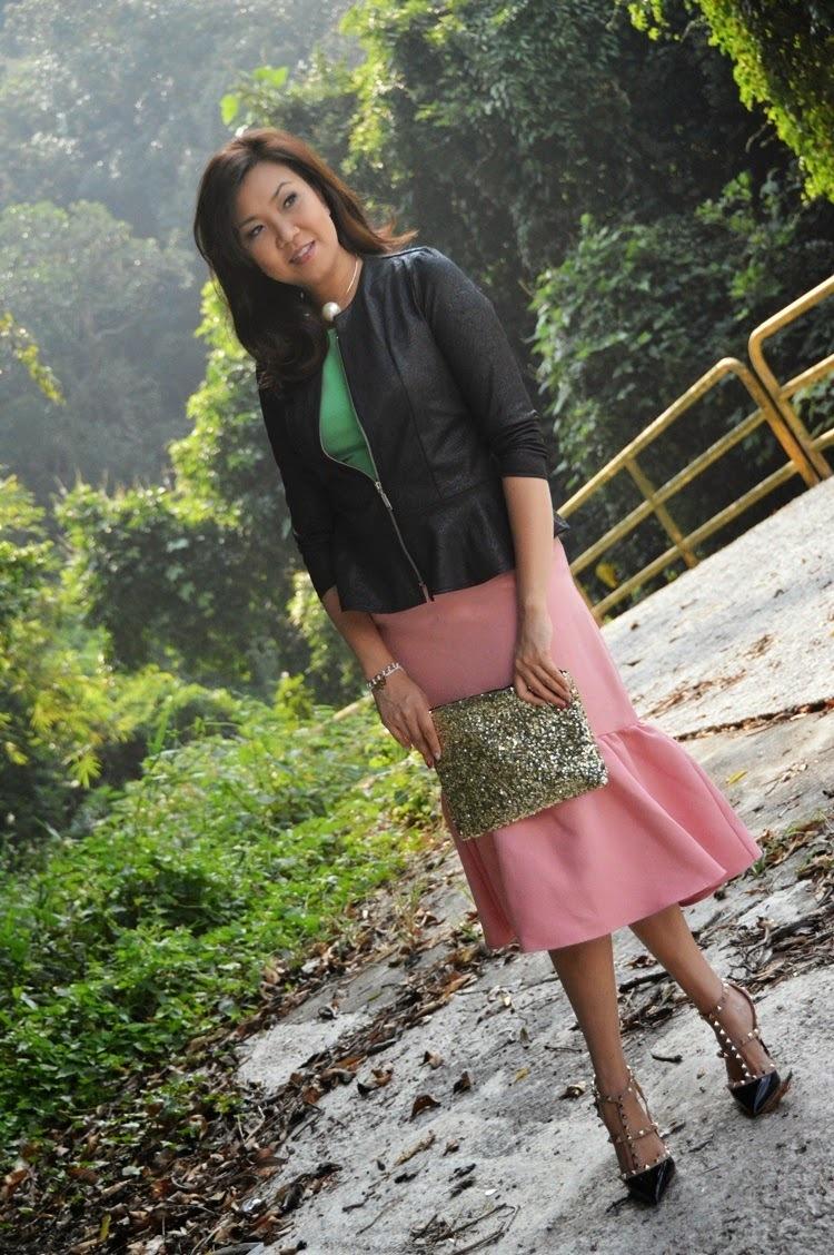 9d2ab7aa5ee Women's Black Studded Leather Pumps, Pink Pencil Skirt, Green Peplum ...