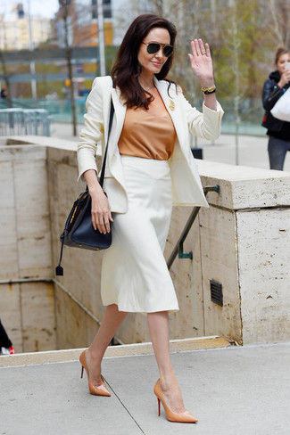 How to wear: tan leather pumps, white pencil skirt, tan short sleeve blouse, white blazer