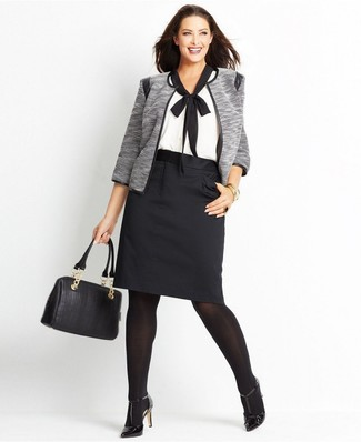 How to wear: black leather pumps, black pencil skirt, white and black short sleeve blouse, grey open jacket