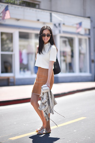 How to wear: grey suede flat sandals, tan pencil skirt, white short sleeve sweater, white shirt jacket