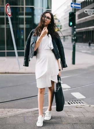 How to wear: white low top sneakers, white pencil skirt, white ruffle sleeveless top, black quilted leather biker jacket