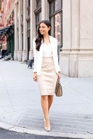 How to wear: beige leather heeled sandals, beige leather pencil skirt, white silk tank, white blazer