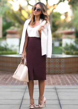 How to Wear a White Blazer For Women: Channel your inner fashionista and pair a white blazer with a burgundy pencil skirt. As for footwear, complete your getup with a pair of beige leather pumps.