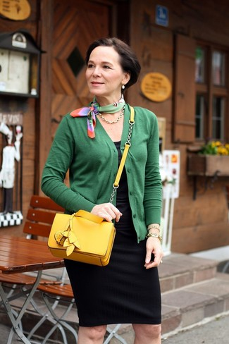 How to wear: yellow leather crossbody bag, black pencil skirt, black tank, green cardigan