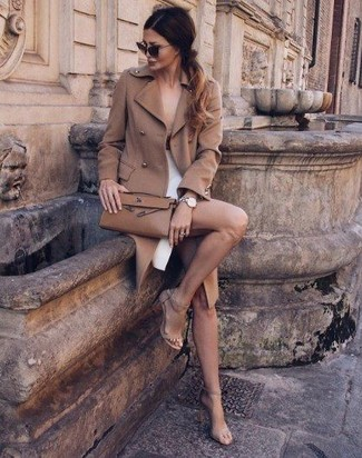 How to wear: beige suede heeled sandals, white slit pencil skirt, beige tank, camel coat