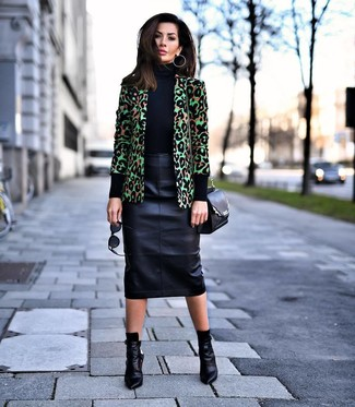 How to wear: black leather ankle boots, black leather pencil skirt, black turtleneck, green leopard blazer