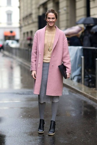 How to wear: black leather ankle boots, grey wool pencil skirt, beige turtleneck, pink coat