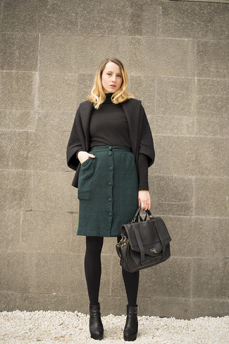 How to wear: black leather ankle boots, dark green wool pencil skirt, black turtleneck, black coat