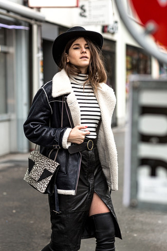 How to wear: black leather over the knee boots, black slit leather pencil skirt, white and black horizontal striped turtleneck, black shearling jacket