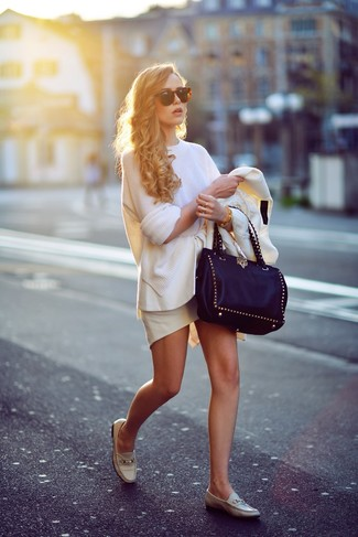 How to wear: beige leather loafers, white peplum skirt, white oversized sweater, white blazer