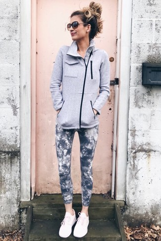 How to Wear Charcoal Tie-Dye Leggings: Why not consider teaming a grey fleece zip sweater with charcoal tie-dye leggings? As well as very functional, both of these pieces look cool when paired together. For a fashionable mix, complement your outfit with pink athletic shoes.