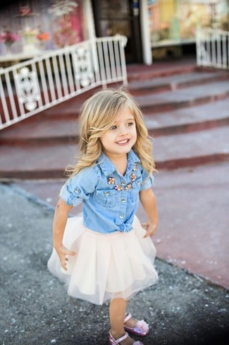 How to wear: pink ballet flats, white tulle skirt, light blue denim long sleeve shirt