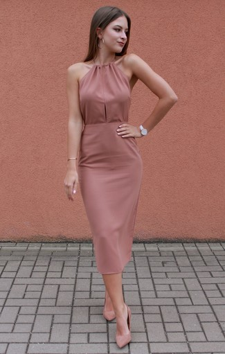 How to wear: pink bodycon dress, pink suede pumps, white leather watch