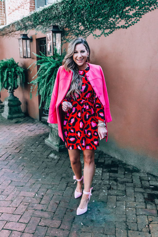 How to wear: pink canvas pumps, red leopard shift dress, hot pink coat